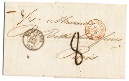 1857 NIET GEFRANKEERDE BRIEF VAN BRUXELLES NAAR PARIS Zie Scan(s) - Belgio