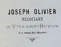 1885 / Courrier Joseph OLIVIER / Négociant / Villers-Buzon Par Saint-Vit / & St-Ferjeux ( Besançon) / 25 Doubs - Francia