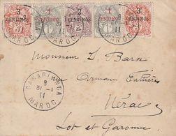 Maroc. Protectorat . 5 Timbres Sur Devant De Lettre. Yvert Et Tellier N° 20 à 22 De 1907. 4 Cachets De Casablanca 1911. - Marruecos (1891-1956)