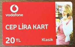 TURQUIE VODAFONE 20 TL RECHARGE GSM PRÉPAYÉE PREPAID TELE CARD PHONE CARD TELECARTE - Turchia