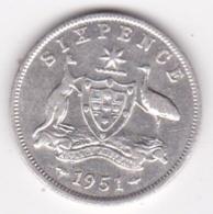 Australie 6 Pence 1951 Melbourne. George VI, En Argent . KM# 45 - Sixpence