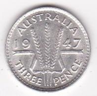 Australie 3 Pence 1947. George VI, En Argent. KM# 37a - Vordezimale Münzen (1910-1965)