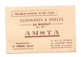 Carte De Visite Cuisinières & Poeles Au Mazout AMSTA à Riom Puy-de-Dôme - Visiting Cards