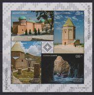AZERBAIJAN, 2019, MNH, ARCHITECTURE, RELIGIOUS SNACTUARIES, MOSQUES, SHEETLET - Mosquées & Synagogues