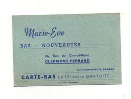 Carte -Bas Fidélité Marie-Eve Bas - Nouveautés Clermont-Ferrand - La 13e Paire Gratuite - Visiting Cards