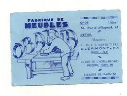 Carte De Visite Fabrique De Meubles Obadia à Riom Et Clermont-Ferrand - Visiting Cards