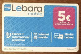 LEBARA MOBILE 5 EURO RECHARGE GSM EXP 30/11/2017 CARTE PRÉPAYÉE À CODE PHONECARD CARD PAS TÉLÉCARTE - Frankreich