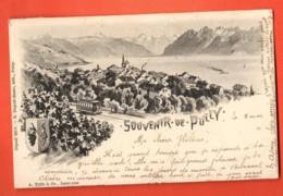 DUA-01 RARE Souvenir De Pully, Ecusson Train, Dents Du Midi, Précurseur. Cachets Pully Et Belmont 1915 - VD Vaud