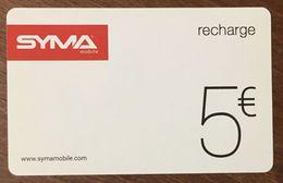 SYMA MOBILE 5 EURO RECHARGE GSM EXP 30/06/2018 CARTE PRÉPAYÉE À CODE PHONECARD CARD PAS TÉLÉCARTE - France