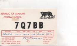 Cpa.Cartes QSL.7Q7BB.Republic Of Malawi.Harry Schenkel.to PAOKA - Radio Amateur