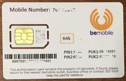 BELGIQUE ? BEMOBILE CARTE SIM NEUVE PHONE CARD QUE POUR LA COLLECTION - Belgium
