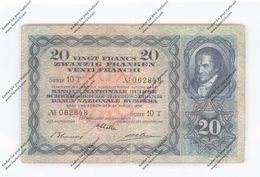 BANKNOTE - SCHWEIZ / SWITZERLAND, Pick 39, 1938, 20 Franken Pestalozzi - Suiza
