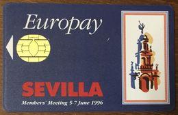 ESPAGNE SEVILLE 1996 EUROPAY BELGIQUE CARTE À PUCE DUMMY CARD DEMONSTRATION CARTE À PUCE GEMPLUS - France