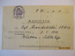 Bayern Eisenbahn-Fahrschein 1918 Von Mont St. Martin Nach Virton (65702) - Guerre 1914-18