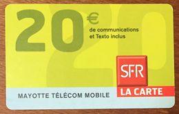 MAYOTTE SFR RECHARGE GSM 20 EURO PRÉPAYÉE EXP 05/10 PREPAID CARTE À CODE PHONECARD CARD - Réunion