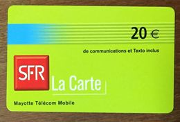 MAYOTTE SFR RECHARGE GSM 20 EURO PRÉPAYÉE EXP 02/07 PREPAID CARTE À CODE PHONECARD CARD - Réunion