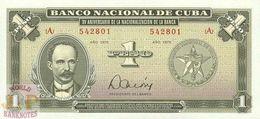 CUBA 1 PESO 1975 PICK 106 UNC - Cuba