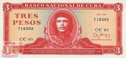 CUBA 3 PESOS 1988 PICK 107b UNC - Cuba