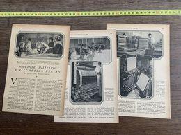 1918 JST SOIXANTE MILLIARDS D ALLUMETTES PAR AN FABRIQUES PANTIN AUBERVILLIERS TRELAZE BEGLES SAINTINES MARSEILLE AIX - Sammlungen