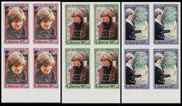 LIBERIA 1982 Diana Baby OVPT.MARG.IMPERF.4-BLOCKS:3 - Liberia