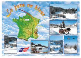 39 - Le Jura En Hiver, C'est Ici - Multivues - Ed. PROTET - Avec Carte Géographique De France - Zonder Classificatie