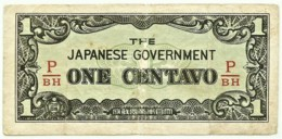 PHILIPPINES - 1 Centavo - ND ( 1942 ) WWII - Pick 102.b - Serie P/BH - Japanese Occupation - Filipinas