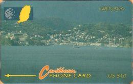 Grenada - GPT, GRE-7A, 7CGRA, Port St Georges, 10 EC$, Ports, 10,000ex, 1993, Used As Scan - Grenada