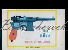 L9 167 CZECHOSLOVAKIA 1968 Historic Firearm - Pistol Mauser C96 Semi-automatic Pistol Pistola Semiautomática - Matchbox Labels