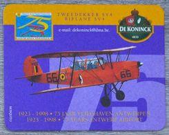 Sous-bock DE KONINCK Tweedekker SV4 Biplane Luchthaven Antwerpen Aéroport Anvers Airport 1998 Bierviltje Coaster (N) - Portavasos