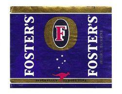 BIERE FOSTER S AUSTALLIA S FAMOUS BEER BLONDE  - ETIQUETTE DE  BIERE BRASSEE EN GRANDE BRETAGNE, VOIR LE SCANNER - Cerveza