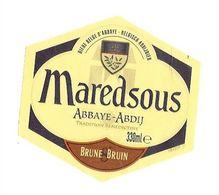 BIERE ETIQUETTE ABBAYE DE MAREDSOUS BRUNE BRUIN , BRASSERIE FALEAU A CHATELINEAU BELGIQUE ( SANS LES DEGRES ) A VOIR - Cerveza