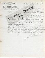 14 - Calvados - BALLEROY - Facture AMELINE - Menuiserie - 1908 - REF 158A - 1900 – 1949