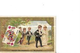 CHROMO    CARTE A JOUER  : VALET    DE CARREAU  : MARIAGE    SCENE MARIES ET INVITES DEFILE - Cromo