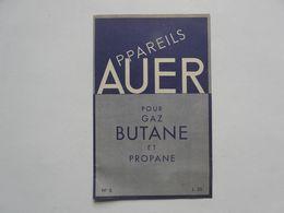 VIEUX PAPIERS - PUBLICITE : APPAREILS AUER Pour Le Gaz BUTANE Et PROPANE - Pubblicitari