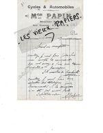 14 - Calvados - LISIEUX - Facture PAPIN - Cycles Et Autos, Mécanicien - 1919 - REF 158A - Francia