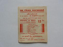 VIEUX PAPIERS - MENU : AU VIEUX NORMAND - Café - Restaurant - LE TREPORT - Menú