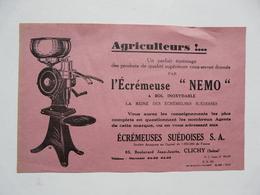 """VIEUX PAPIERS - PUBLICITE : Ecrémeuse """" NEMO"""" - Pubblicitari"""