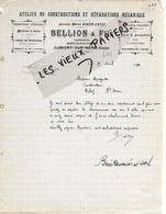 18 - Cher - AUBIGNY-SUR-NERE - Facture BELLION - Atelier De Constructions Et Réparations Mécaniques - 1910 - REF 158A - Francia