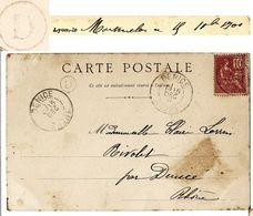 RHONE CP 1901 DENICE T84 + BOITE RURALE D = MONTMELAS (MONTMELAS ST SORLIN) VOIR LES SCANS - 1877-1920: Periodo Semi Moderno