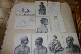 LOT DE 10 ILLUSTRATIONS ...INDIGENES ..TASMANIE(4) Et AUSTRALIE (6) ...de NICOLAS PETIT - Cartes Postales