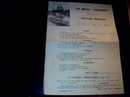"""Menu Intitulé """" Un Menu Parisien à Bord Du Bateau Mouche """" Année 1950 - Menú"""
