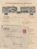 CLICHY ETABLISSEMENTS DEBRAY CAFES THES CHOCOLATS 1931 LETTRE COMMERCIALE + ENVELOPPE - Francia
