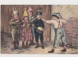 Carte Fantaisie Dessinée/ Orchestre D'enfants ( Tambour , Trompette , Cymbales.. - Gruppen Von Kindern Und Familien