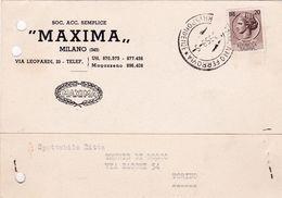 Carta Pubblicitaria Maxima Milanio> Tennis Di Bosco Torino 1956 - Vari
