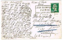 FLAMME FLIER JEUX OLYMPIQUES PARIS 1924 PARIS GARE ST LAZARE SUR CPA ISOLA BELLA - Estate 1924: Paris