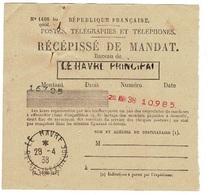 Postes, Télégraphes Et Téléphones - RECEPISSE DE MANDAT Le Havre 1938, 167,05 Francs - Francia