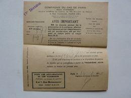 VIEUX PAPIERS - COMPAGNIE DU GAZ DE PARIS - Francia