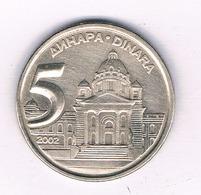 5 DINAR 2002 JOEGOSLAVIE /5373/ - Joegoslavië