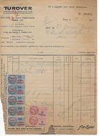Facture Manufacture De Caoutchouc TUROVER 1950 Avec Bande 5 Fiscaux Surcharge 10 Frs Sur 13 Frs DA - Revenue Stamps