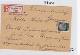 GG: Einschreiben Warschau An Rotes Kreuz-Kriegsgefangenen Zentrale/Schweiz - Besetzungen 1938-45